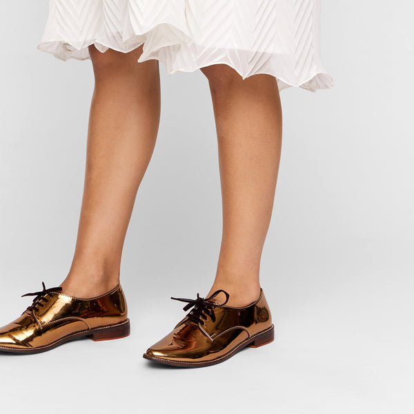 Bronze Patent Pointed Brogues