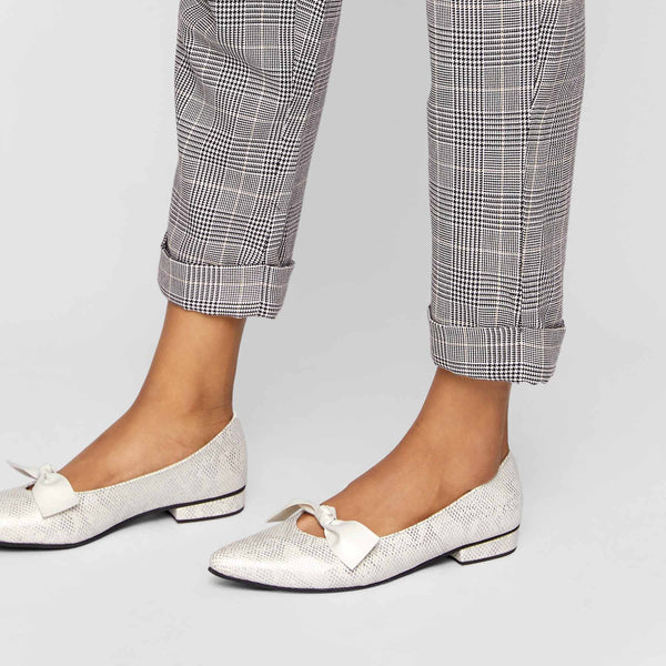 Silver Textured Bow Flats