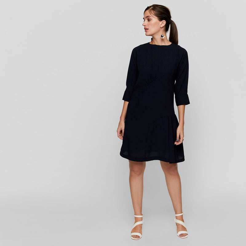 Midnight Ruched Shift Dress