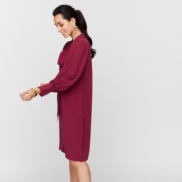 Burgundy Scarf Tie Shift Dress