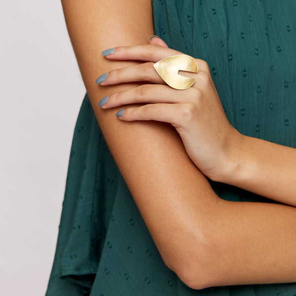 Gold Matte Pear Ring
