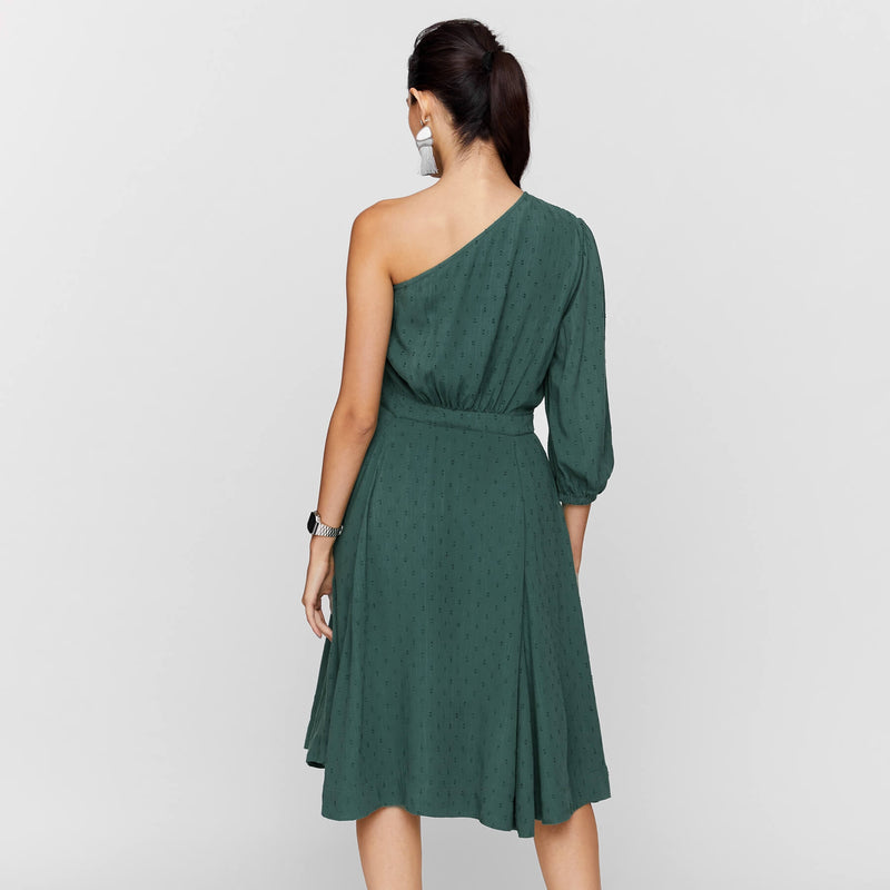 Pine One Shoulder Skater Dress