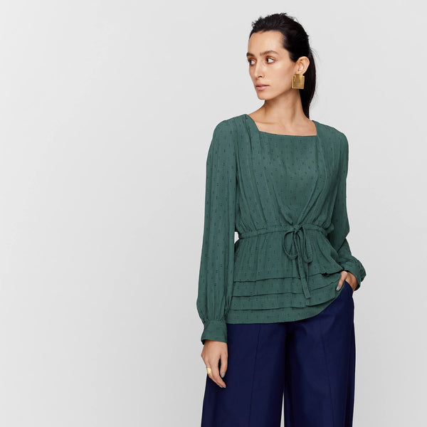 Pine Pleated Drawstring Top