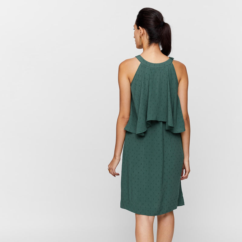 Pine Sleeveless Overlay Dress