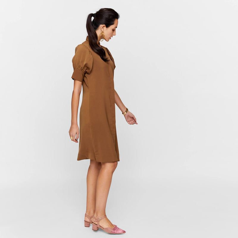 Walnut Pleated Shirt Dress
