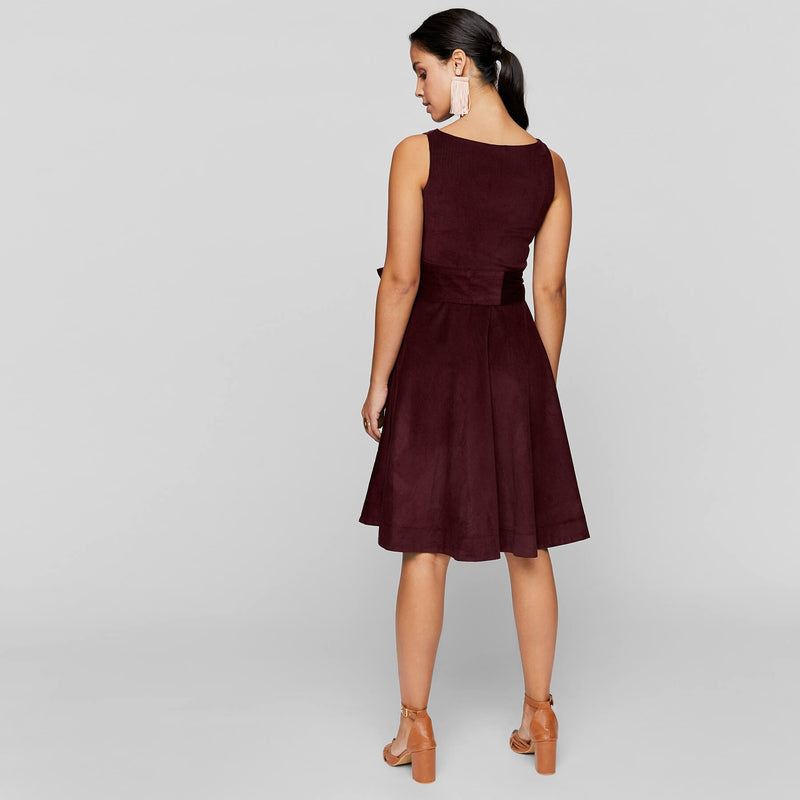 Burgundy Corduroy Skater Dress