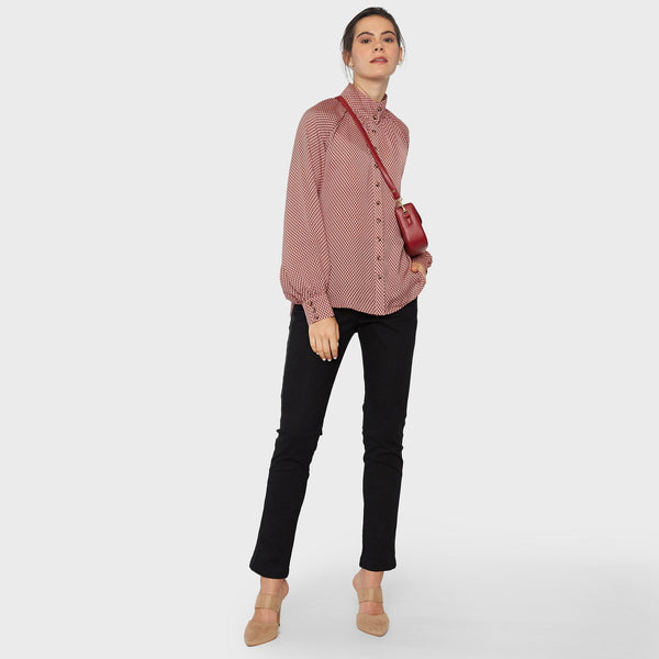 Rose Geo Mandarin Collar Shirt