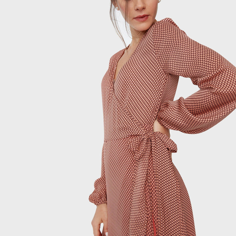 Rose Geo Wrap Dress