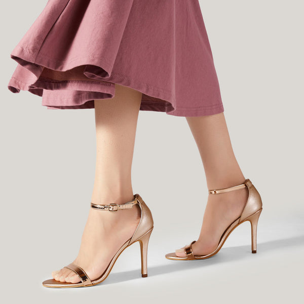 Rose Gold Ankle Strap Stilettos
