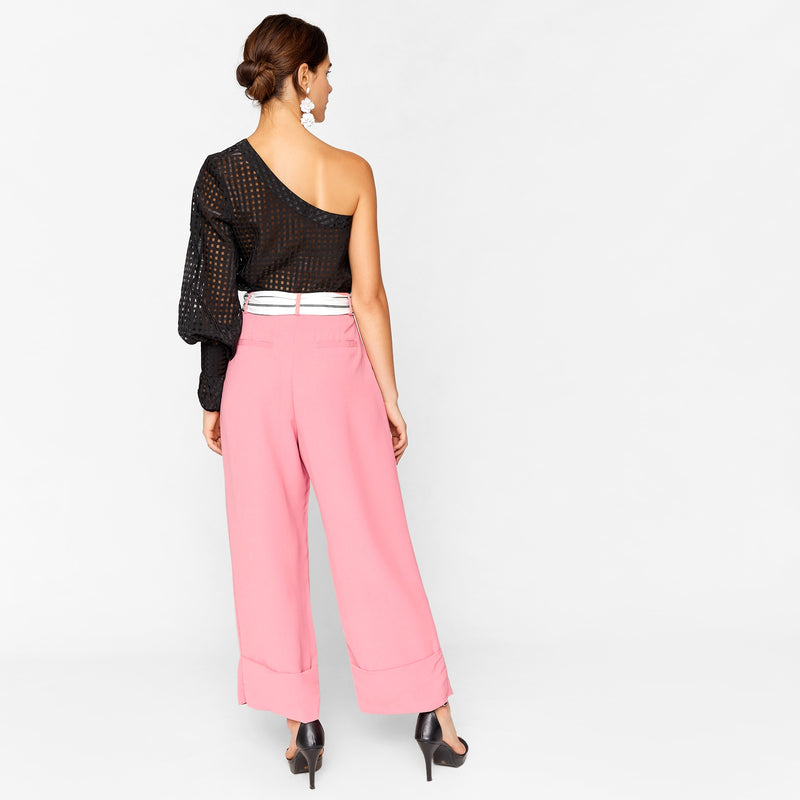 Rose & Striped Flare Pants