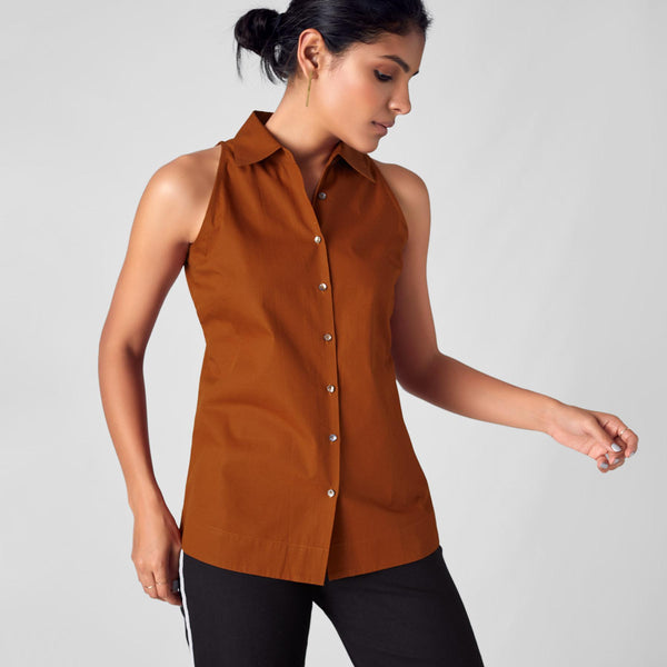 Rust Sleeveless Shirt
