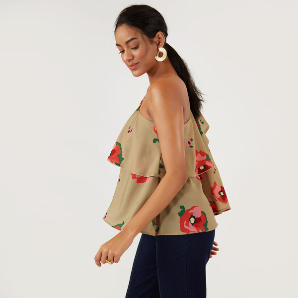 Sage Bloom One Shoulder Top