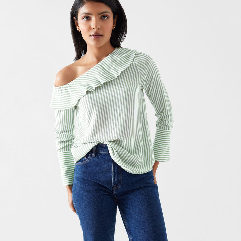 Sage Striped Off Shoulder Top