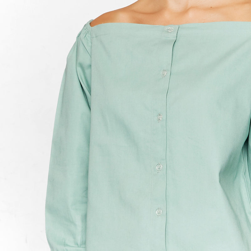 Sage Cinched Sleeve Shirt