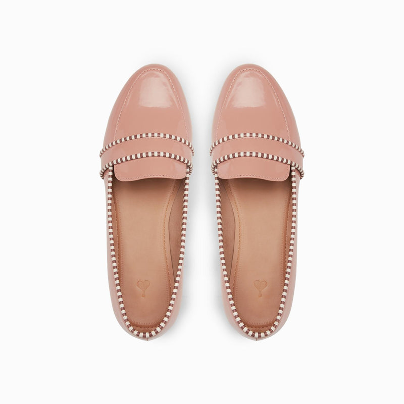 Salmon Patent Striped Loafers