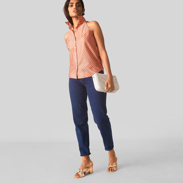 Salmon Polka Sleeveless Shirt