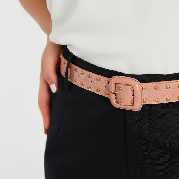 Salmon Textured Studded Belt