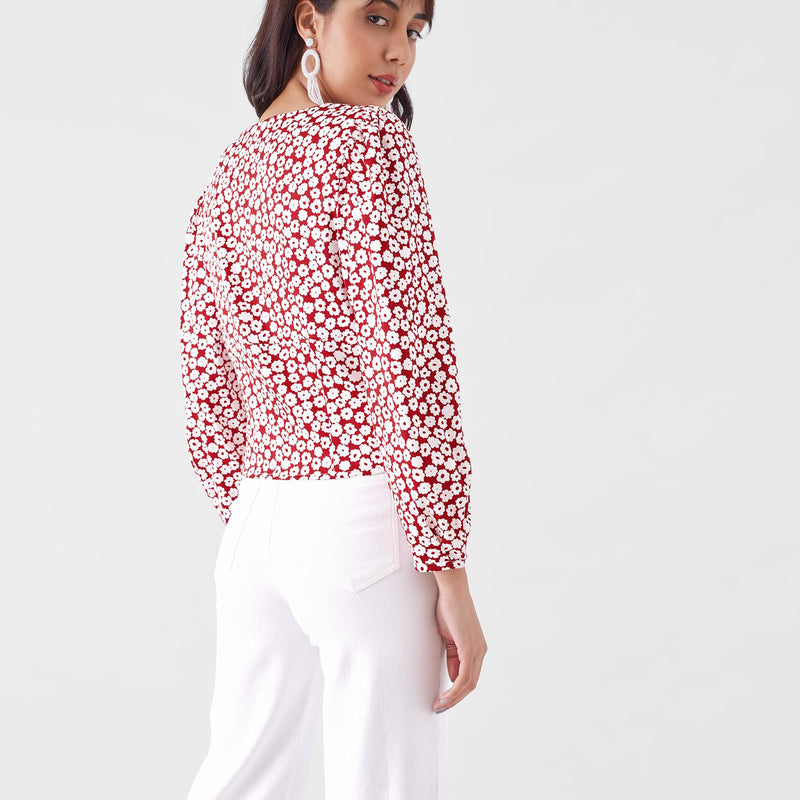 Scarlet Daisy Button Down Top
