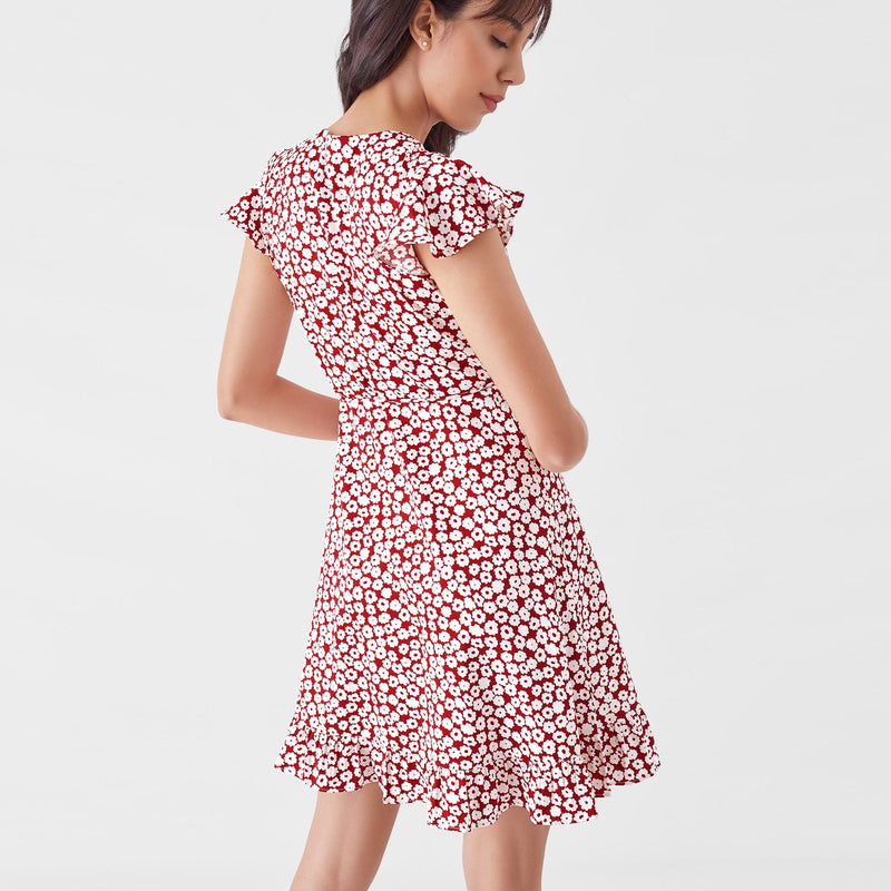 Scarlet Daisy Wrap Dress