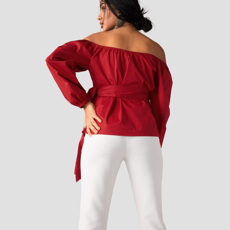 Scarlet Off Shoulder Wrap Top