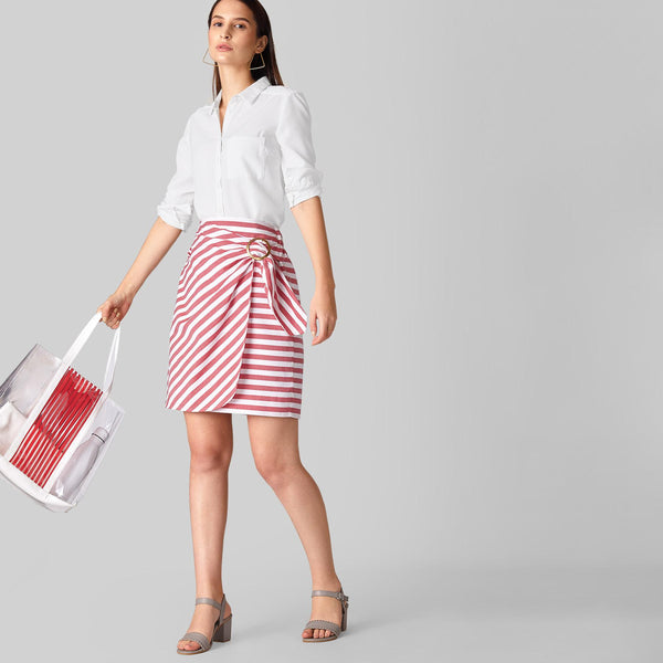 Scarlet Striped Overlap Skirt