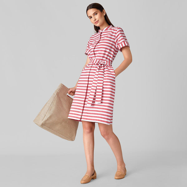 Scarlet Striped Tie Shirt Dress