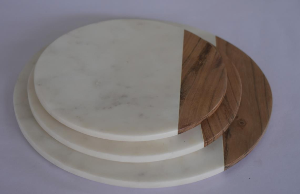 Round Marble & Wood Board Large