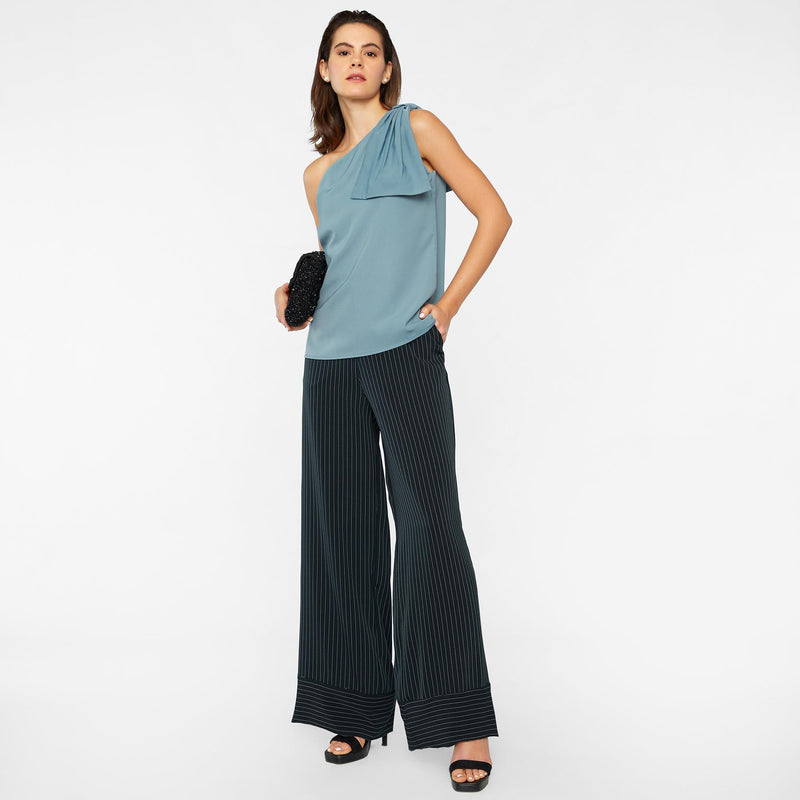 Sea One Shoulder Bow Top