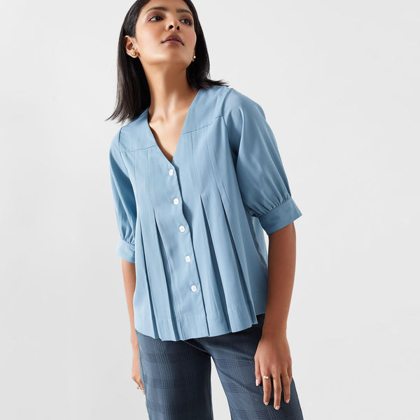 Sea Pleated Top