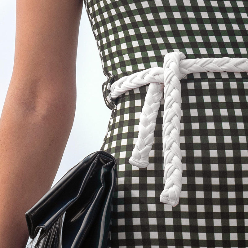 Seaweed Gingham Belted Swimsuit