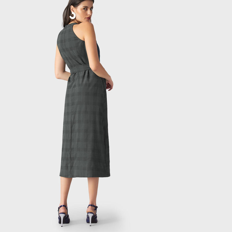 Seaweed Plaid Belted Dress