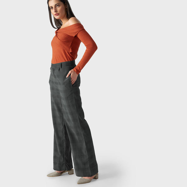 Seaweed Plaid Flare Pants