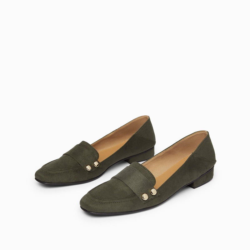 Seaweed Suede Studded Loafers