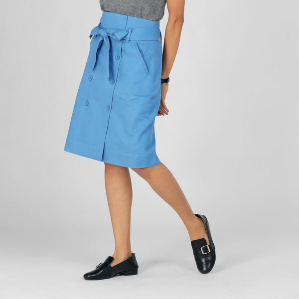 Slate Blue Buttoned Tie Skirt