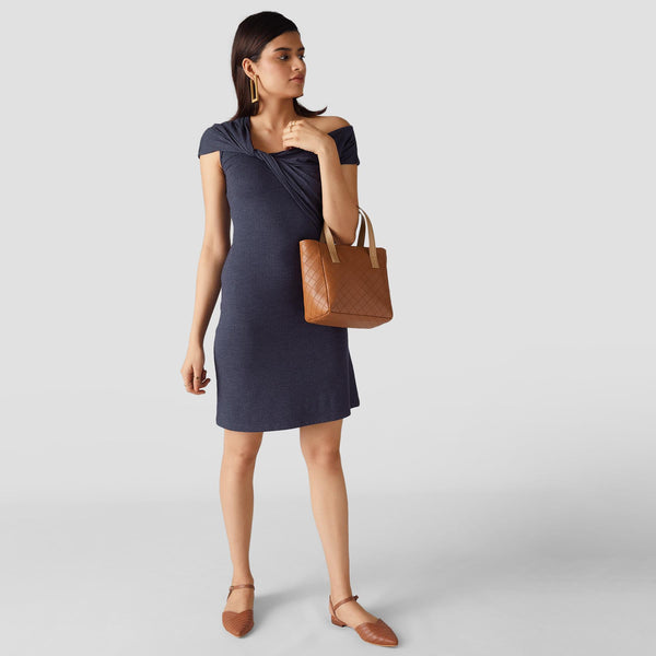 Spruce Blue One Shoulder Knotted Dress
