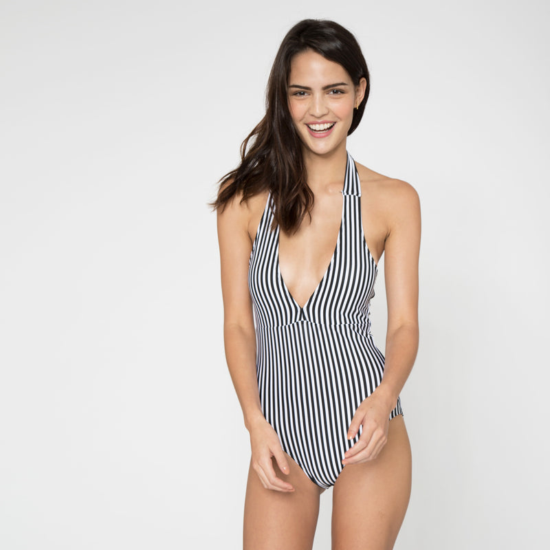 Striped Halter Swimsuit