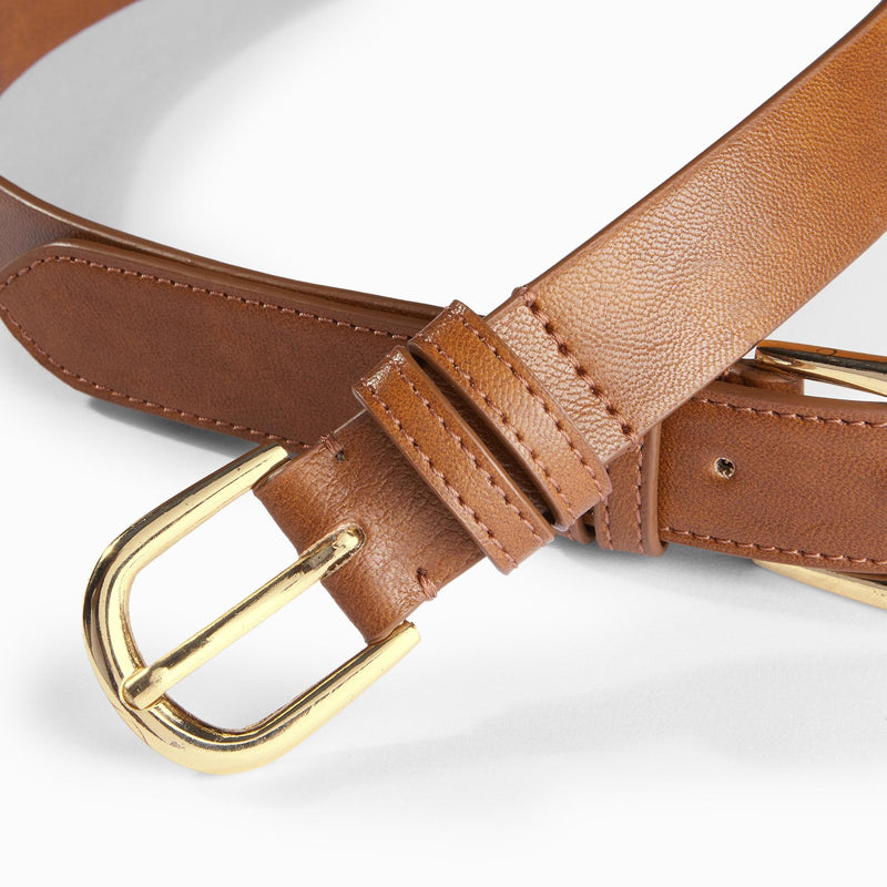 Tan Dual Buckle Belt