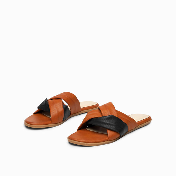 Tan & Midnight Cross Sliders