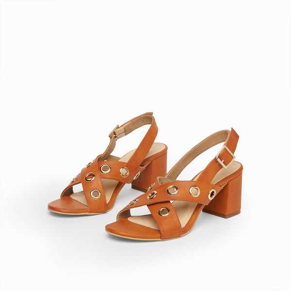 Tan Rivet Cross Block Heels