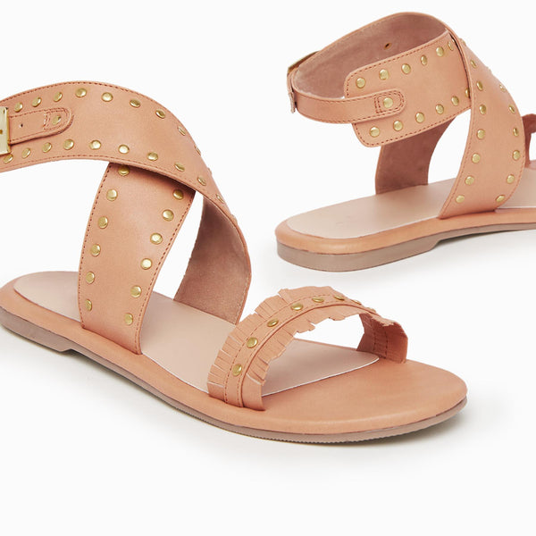 Tan Studded Cross Ankle Flats