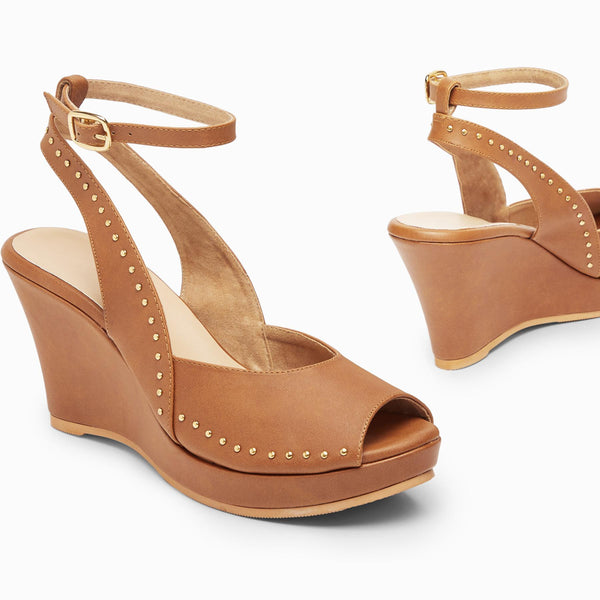 Tan Studded Peep Toe Wedges