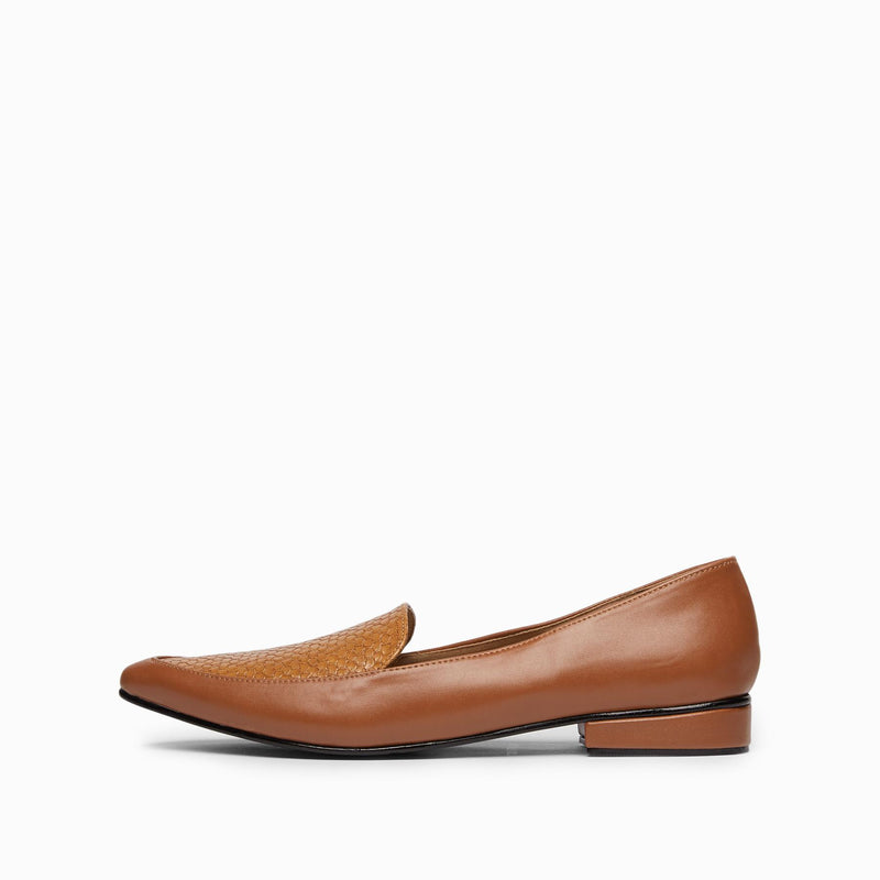 Tan Textured Loafers