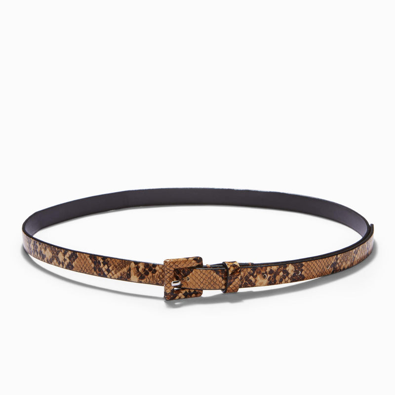 Tan Textured Skinny Belt
