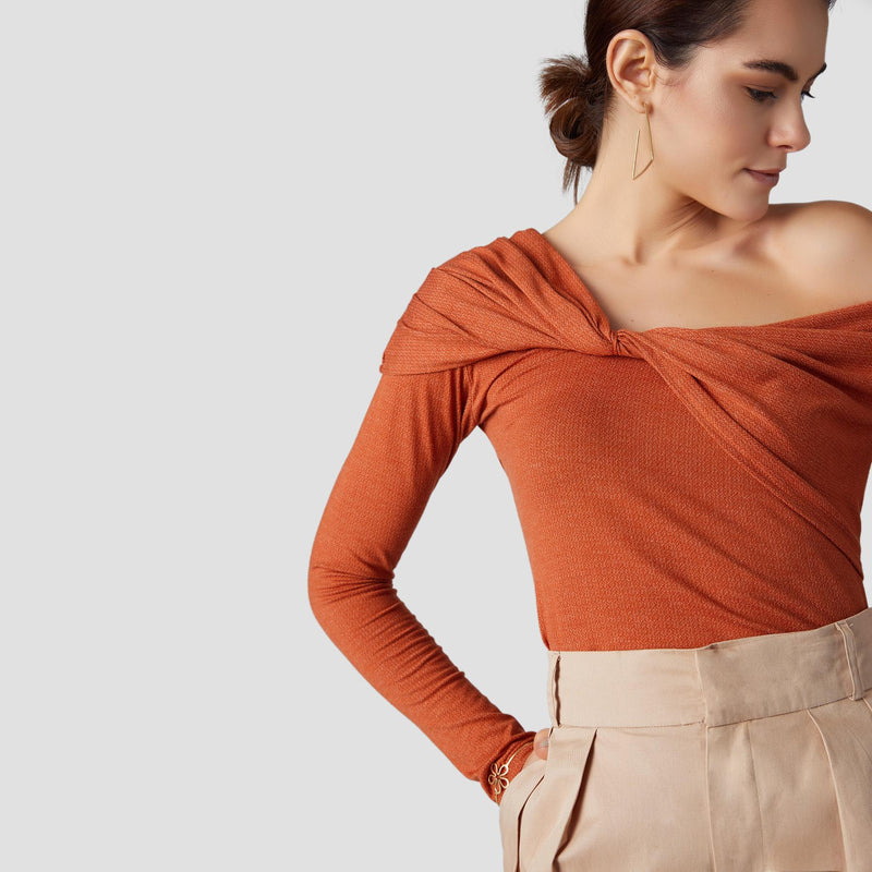 Tangerine Knotted One Shoulder Top