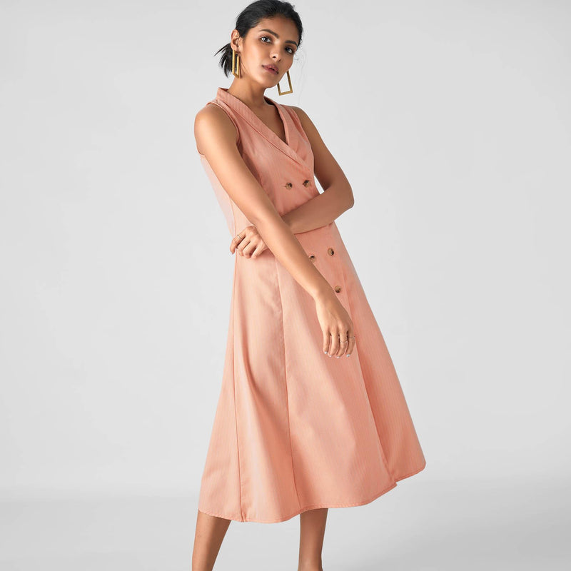 Tangerine Lapel Collar Midi Dress