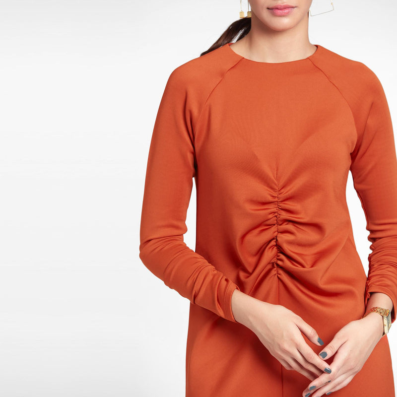 Tangerine Ruched Shift Dress