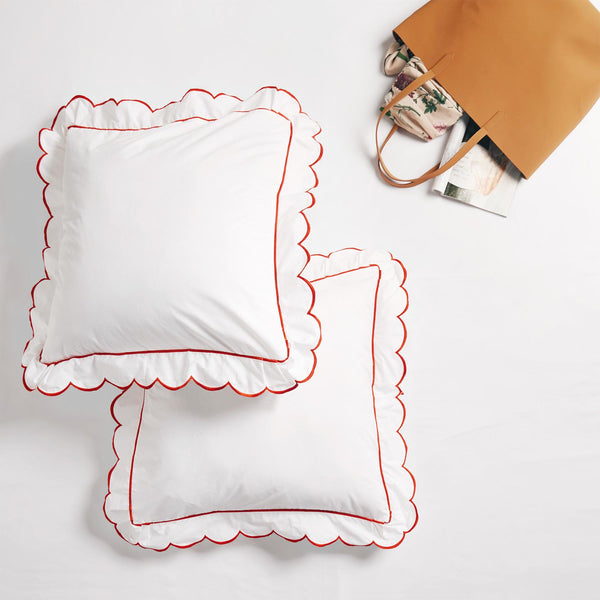 Tangerine Scallop Border Shams