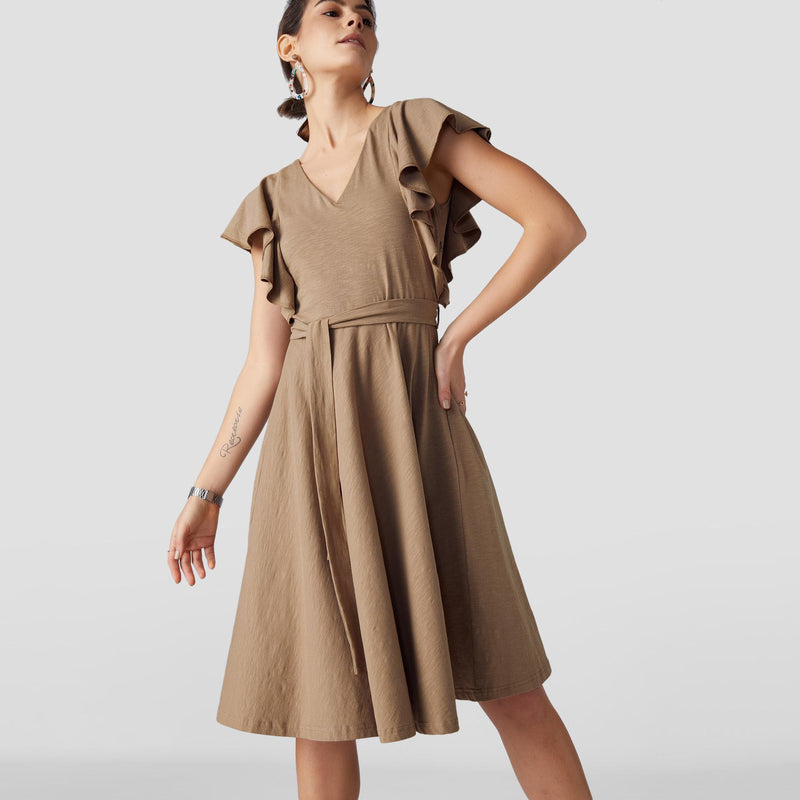 Taupe Ruffle Sleeve Skater Dress