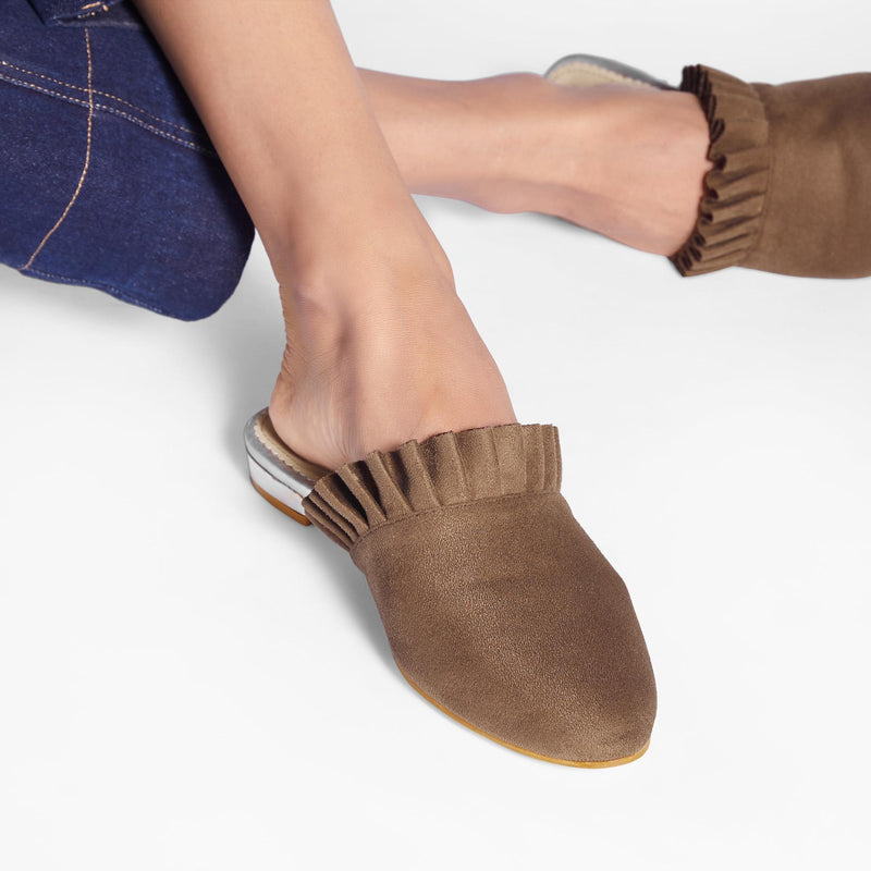 Taupe Suede Ruffle Mules
