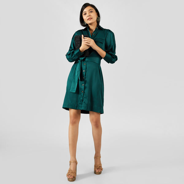 Teal Belted Shirt Dress